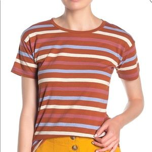Madewell whisper cotton tee in burnt clay stripe